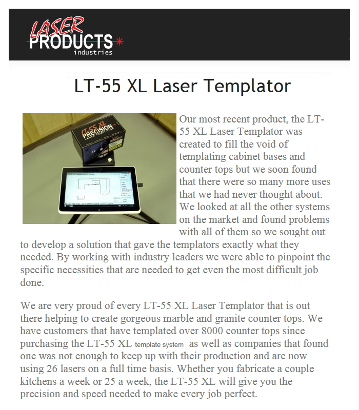 Sn 320014 Laser Products Lt 55 Xl Template Device